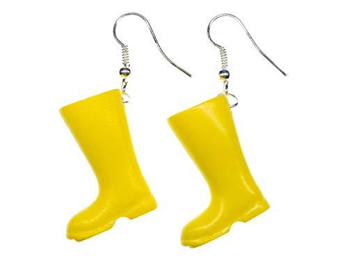 Miniblings Żółte gumowe buty kolczyki wiszące buty deszczowa pogoda buty ogrodowe