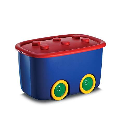 KK Verpackungen Spielzeugkiste mit großen Rädern & aufliegendem Deckel   Spielzeug-Aufbewahrungsbox aus Plastik mit 46 Liter & in Blau/Rot, 580x385x320mm