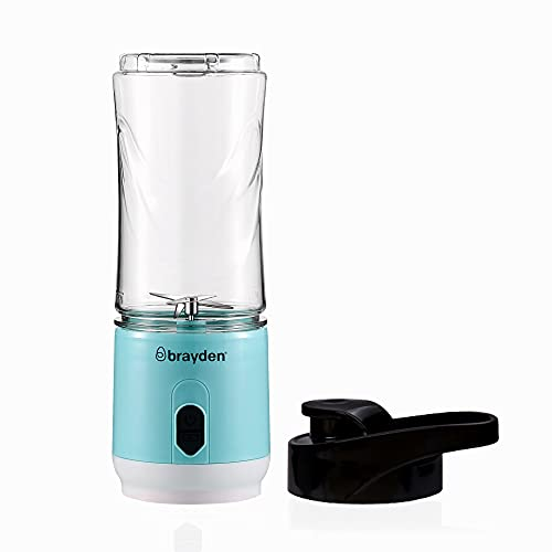 Brayden Fito Atom Portable Smoothie Blender with 2000 mAh Rechargeable Battery and 3.7V Motor with 400ml Tritan Jar, Blue