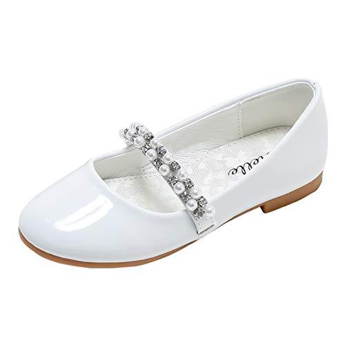 STELLE Girls Mary Jane Shoes Slip-on Party Dress Flat (12ML, T09-White)