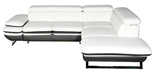 Mivano Ecksofa Prestige / Couch in L-Form mit Ottomane / Kopfteile und Armteil verstellbar / 265 x 74 x 223 / Zweifarbiges Kunstleder, weiß/dunkelgrau