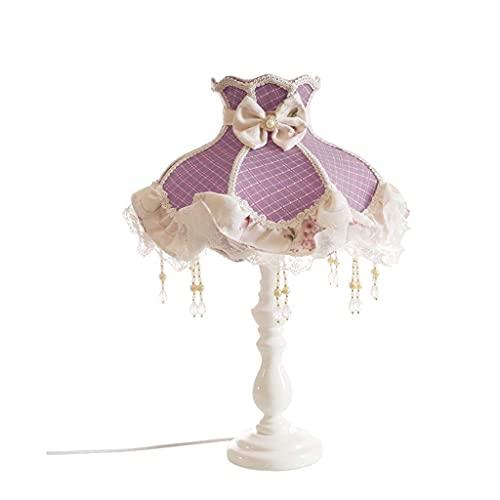 LLLKKK Home Creatividad coreana dormitorio lámpara de mesa lámpara de noche cálida Pastoral encaje de tela luz romántica lila niña hogar