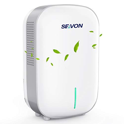 SEAVON Dehumidifier Small Dehumidifiers for Home 2200 Cubic Feet (260 sq ft), Portable and Compact 27 oz Capacity Quiet Dehumidifiers for Basements, Bedroom, Bathroom, RV, Closet, Auto Shut Off