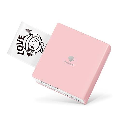 Phomemo M02 Mini Impresora Térmica Portatil Photo Impresora Bluetooth Móvil Compatible con Android e iOS para Impresión Instantánea Fotos de Estilo Retro, Asistente de Vida, Buen Regalo, Rosa