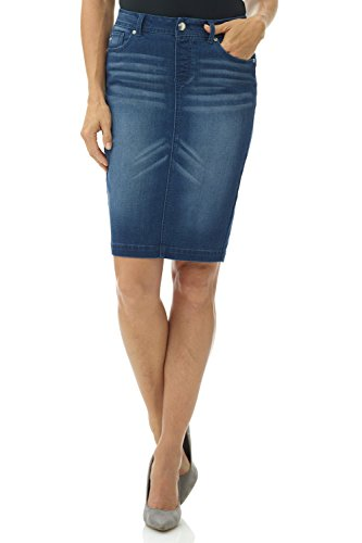 Rekucci Women's Jean-ius fit Unbelievable Pull-On Denim Skirt (18,Ocean Whiskers)