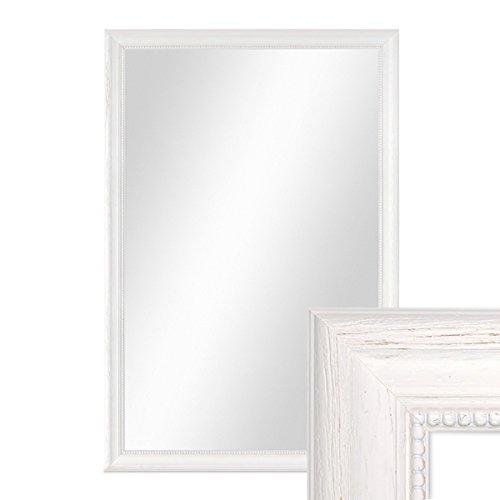 PHOTOLINI Wand-Spiegel 46x66 cm im Holzrahmen Landhaus-Stil Weiss/Spiegelfläche 40x60 cm