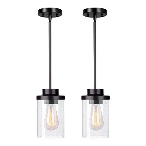 Indoor Mini Pendant Light Twin Pack, JAZAVA Adjustable Modern Hanging Lights, Open Bottom Hollow Lamp Cup Oil Rubbed Bronze with Clear Seeded Glass Shade for Bar, Dining Room, Corridor, Living Room