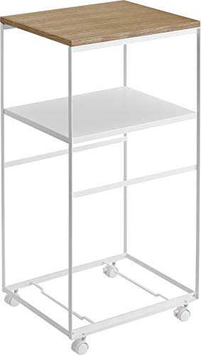 Yamazaki Home Wagon Rolling Kitchen Tiered Storage Rack/Utility Cart with Wood Tabletop, One Size, White