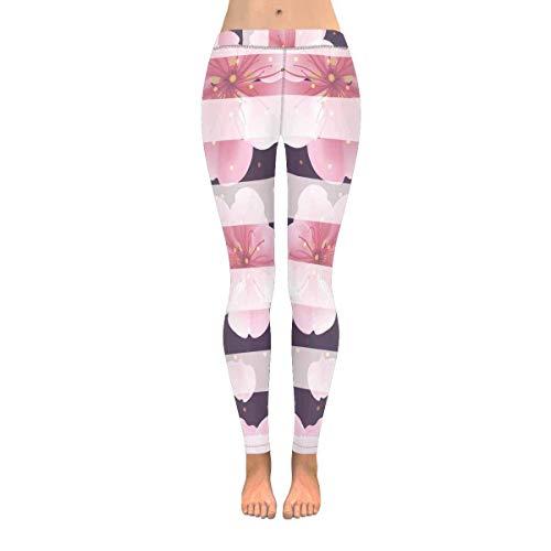 Hangdachang Damenmode Print Yoga Hosen Petunia Soft Slim Low Rise Leggings L