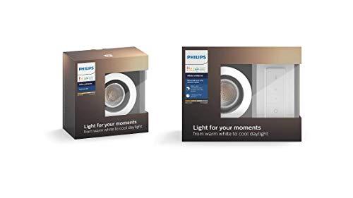 Philips Hue Luminaire télécommandé 2 Spots encastrés MILLISKIN Rond Chrome + Dim...