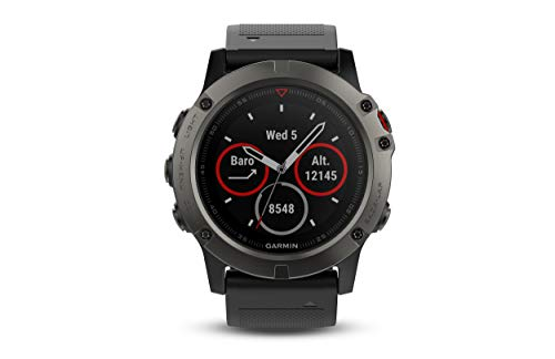 Garmin fēnix 5X, Premium and Rugged Multisport GPS Smartwatch, features Topo U.S. Mapping, Slate Gray, (Renewed)