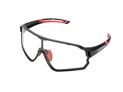 ROCKBROS Occhiali da Sole Fotocromatici Ciclismo Sportivi PC Lenti Trasparenti UV400 Ultraleggero Unisex (Nero/Rosso)