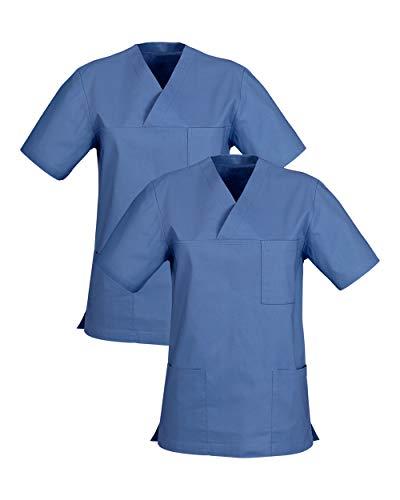 CLINIC DRESS Schlupfkasack Doppelpack Kasacks für Damen und Herren Schlupfhemd für die Pflege oder Medizin in 100% Baumwolle 60 Grad Wäsche Pacific M