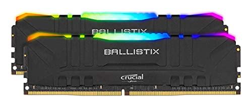 Crucial Ballistix BL2K16G32C16U4BL RGB, 3200 MHz, DDR4, DRAM, Memoria Gaming Kit per Computer Fissi, 32GB (16GBx2), CL16, Nero