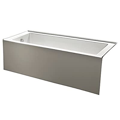 KINGSTON BRASS VTDE603122L 60-Inch Contemporary Alcove Acrylic Bathtub with Left Hand Drain and Overflow Holes , White