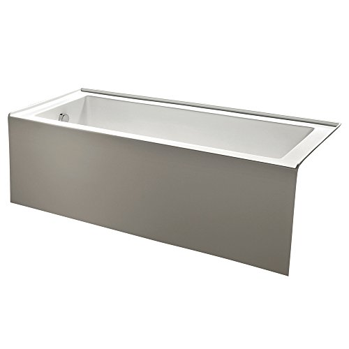 KINGSTON BRASS VTDE603122L 60-Inch Contemporary Alcove Acrylic Bathtub with Left Hand Drain and Overflow Holes, White