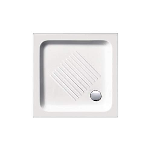 Piatto doccia 70x70 quadrato in ceramica bianca bianca, disegno antiscivolo