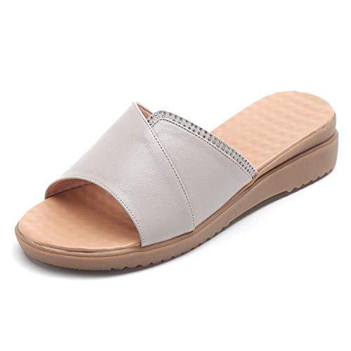 YSODFQL Mujer Sandalias de Vestir Punta Abierta Chanclas Plano, Chanclas Verano Playa Piscina Comodas Sandalias Caminar Adulto Antiderrapante Zapatos para casa o Playa/Gray / 42