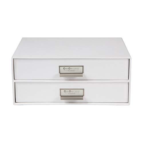 Bigso Box of Sweden Schubladenbox für Dokumente und Bürobedarf – Schreibtisch Organizer mit 2 Schubladen – Ablagesystem aus Faserplatte und Papier – weiß