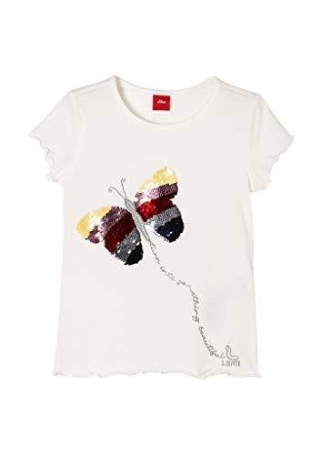 s.Oliver Junior Mädchen 403.10.102.12.130.2058101 T-Shirt, Offwhite, 104/110