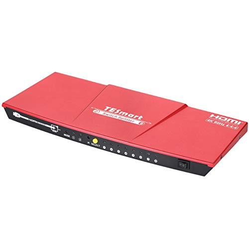 TESmart HDMI Splitter 2 Entrées 8 Sorties HDMI Splitter 4K@60Hz HDCP 2.2 Ultra HD YUV 4: 4: 4 3D Répartiteur HDMI pour Xbox PS3 4 Pro Moniteur Projecteur(Rouge)