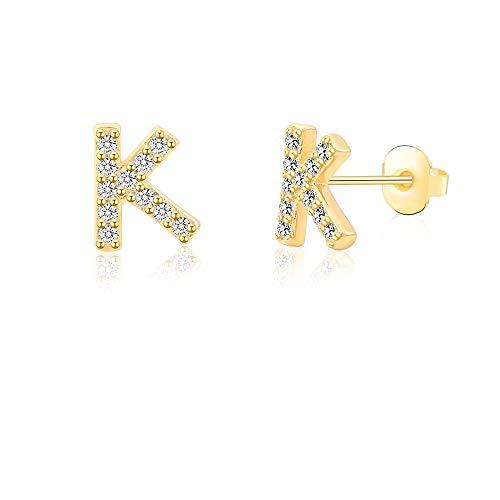 K Alphabet Stud Earrings for Sensitive Ears 14K Gold Plated Initial Letter Earrings for Little Girls Kids Baby Women Hypoallergenic Nickel Free Monogram Jewelry Gift