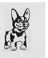 MDGCYD 車 ステッカー犬 R 9.6Cmx15.2Cmかわいい赤ちゃん犬アートリムーバブルビニールカーステッカーブラック/シルバー