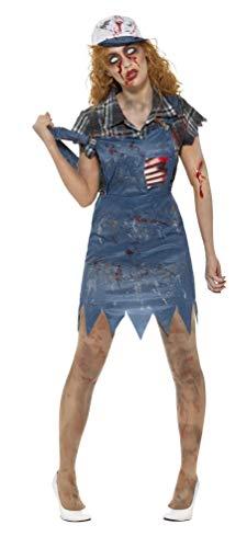 Halloween! Smiffys Zombie-Hinterwäldler-Kostüm, Damen, Blau, mit Latzkleid, befestigten Latex-Rippen, Bluse & Baseballkappe