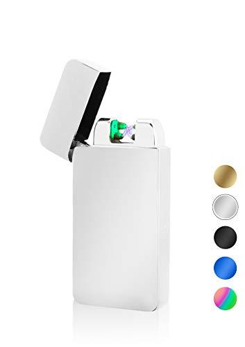 TESLA Lighter TESLA Lighter T10 Lichtbogen-Feuerzeug mit Photosensor, elektronisches USB Feuerzeug, Double-Arc Lighter, wiederaufladbar Silber Silber