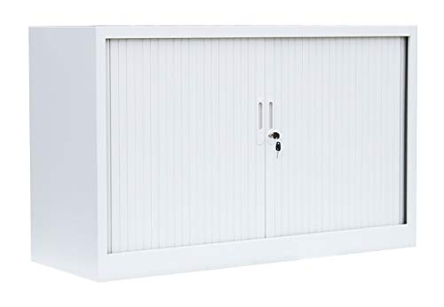 Querrollladenschrank Sideboard 120cm breit Stahl Büro Aktenschrank Rollladenschrank Weiß 555127 (HxBxT) 750 x 1200 x 460 mm kompl. montiert und verschweißt