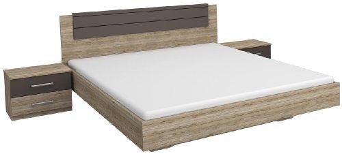 Rauch Möbel Barcelona Bett Doppelbett mit 2 Nachttischen, Eiche Sanremo hell / Lavagrau, Liegefläche 180x200 cm, Stellmaß Bett-Anlage inklusive Nachttische BxHxT 285x85x206 cm
