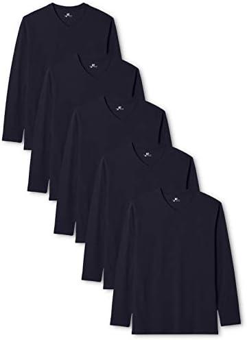 Lower East Camiseta Manga Larga Hombre Cuello Pico, Pack de 5
