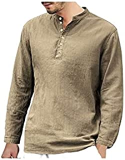Wanxiaoyyyinnscx Long Sleeve Shirts, Men Spring Autumn T-shirt Top Casual Male Clothing Solid Color V Neck Long Sleeve But...