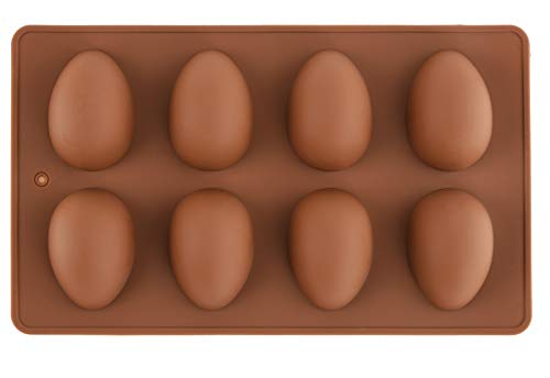 Mirenlife 8 Cavity Silicone Egg Pan, Egg Tray, Egg Shape Ice Tray, Silicone Pan for Cake Decorating, Chocolate, Candy, Jello, Baking Pan for Muffin, Bread and More