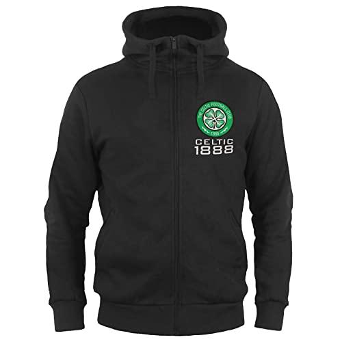 Celtic FC Official Football Gift Mens Fleece Zip Hoody Black Large