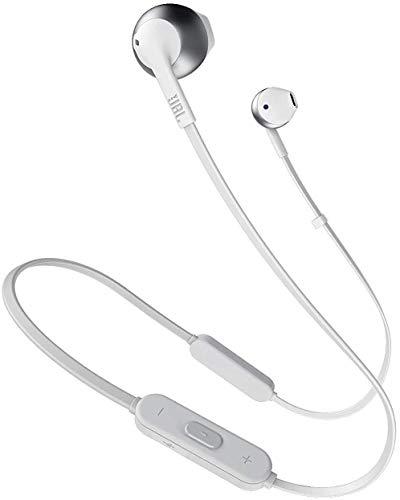 JBL Tune 205BT Auriculares Inalámbricos intraurales con micrófono y mando a distancia con 3 botones, función de manos libres y diseño ergonómico con cable sin enredos, plata