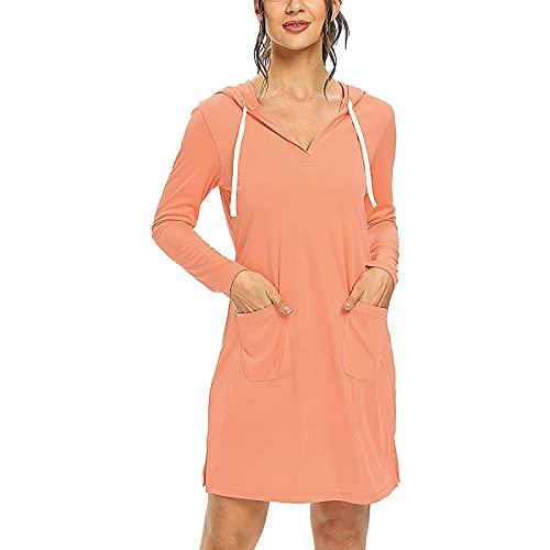 JABROCT Sunscreen Dress Women Upf 50+ Sun Protection Long-Sleeved Beach Dress,Solid Cover Up SPF Long Sleeve Sun Protection Athletic Hiking Hoodie Dress(A-Orange,Large)