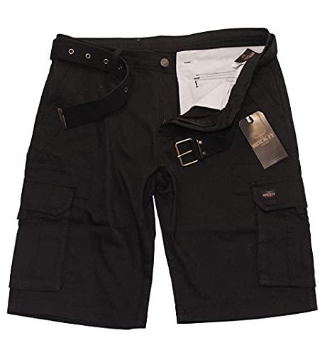ROCK-IT Apparel Pantaloncini Cargo da Uomo con Cintura Bermuda Vintage con 6 Tasche da chiudere Pantaloni Estivi Corti da Uomo - Taglie S-5XL - Nero X