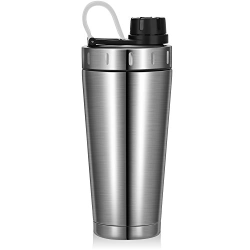 Homiguar Shaker Bottle, Stainless Steel Insulated Protein Shaker Bottle, Keeps Cold/Hot, Double Walled Shaker, Screw-top, Leak Proof, BPA Free, 20-Ounce - Silver