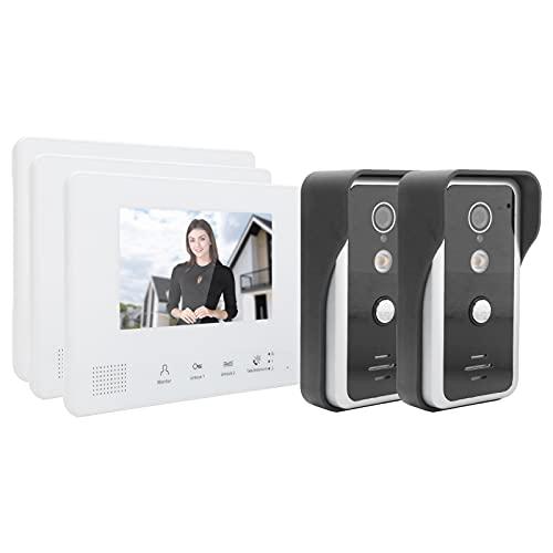 SALALIS Monitor de cámara de Puerta, función de Llamadas grupales Pantalla LCD TFT de Rama y Modo Mixto Videoportero de teléfono Sistema de 2 Cables con conexión de Cable Flexible para Seguridad en