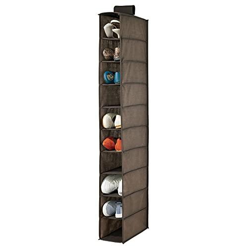 mDesign Organizador de zapatos para armario – Muebles zapateros para colgar con 10 compartimentos – Estanterías para zapatos, bolsos o carteras para ahorrar espacio – marrón oscuro