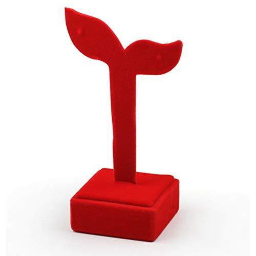 BWCGA Pendientes de Terciopelo Rojo Pendientes de Terciopelo Pendientes Pantalla de Accesorios Estante, Pendientes Creative Hoja Pendientes Pendientes Pequeño Péndulo