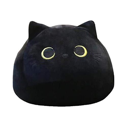 QSMIANA Almohada Juguetes De Peluche Lindo Negro Gato con Forma De Felpa Suave Almohadas Muñecas Doll Girls Día De San Valentín Regalo Adorno