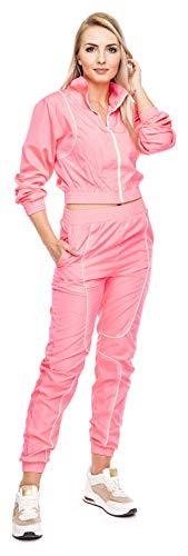 Loomiloo - Tuta da jogging da donna, 2 pezzi, con top e pantaloni fluorescenti rosa. L