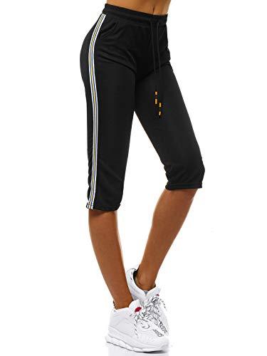 OZONEE Damen Sporthose Kurz Shorts Sweatpants Trainingshose Kurze Hose Bermuda Sportshorts Jogginghose Freizeithose Sweatshorts Damenhose Sport Capri Caprihose JS/1021/C1 SCHWARZ M