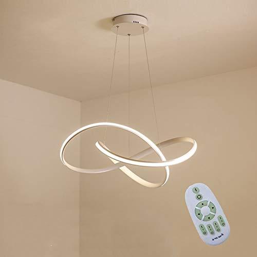 LED Pendelleuchte, 45W Dimmbare Esstisch Hängelampe, Acryl Nordic Modernes Restaurant Decken-Lampe, Aluminium Kreative Curve Kronleuchter, Hängelinie Höhenverstellbar [Energieklasse A ++]