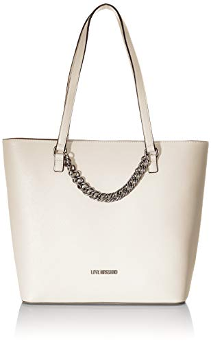 Love Moschino Borsa Natural Grain Pu, Tote Donna, Bianco (Avorio),...