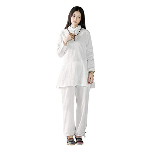 KSUA Damen Tai Chi Uniform Zen Meditations Anzug Chinesische Kung Fu Kleidung Baumwolle (Weiß, EU M)