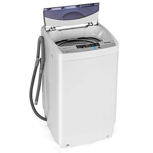 GOPLUS Waschmaschine Vollautomatisch, Waschvollautomat mit Schleudern mit 4,5 kg Fassungsvermögen 250-310W, Miniwaschmaschine Multifunktion Kompakt 50x50x85 cm, Waschmaschinenreiniger Weiß