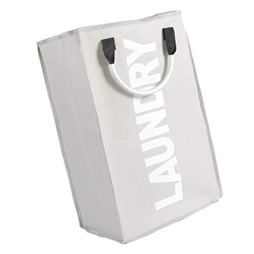YJS inklapbare vuile kleding mand aluminium handgrepen was opvouwbare opslag kubus Bin waterdicht speelgoed Organizer, 33*23*53cm, Lichtgrijs